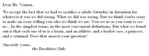 Breakfast club letter